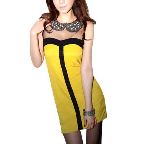 sourcingmap® Damen U-ausschnitt Netz Patchwork Zweiton Pullover Tank Hemd - Gelb, Damen, X-Small