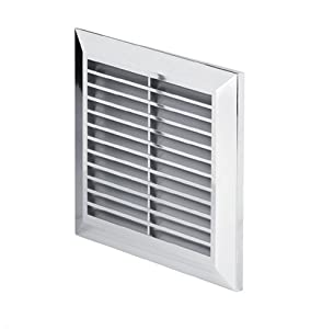 chrome air vent grille 170mm x 170mm with fly screen mesh silver wall ventilation cover grid 7. Black Bedroom Furniture Sets. Home Design Ideas