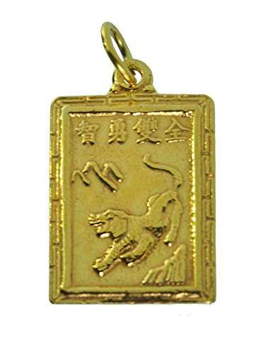 - princeofdiamonds Zodiac Charm Aquarius Chinese Year of The Tiger Fortune Jewelry 24K Gold Plated