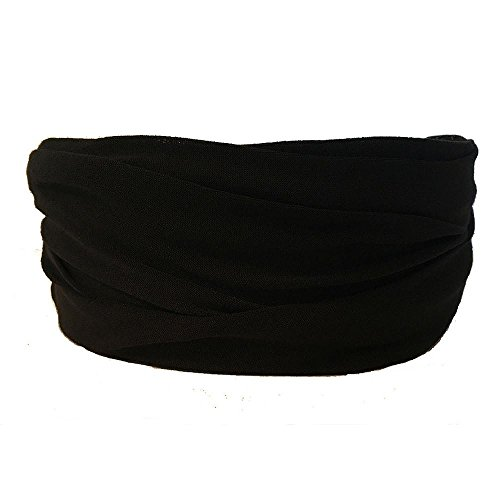 Headbands of Hope - Headbands for a Cause - Premium Lightweight Black Tube Turban for Women, Girls, Infants - Elastic, Nonslip Tube Turban for Comfy and Snug Fit - Vibrant Colors for Sports and More