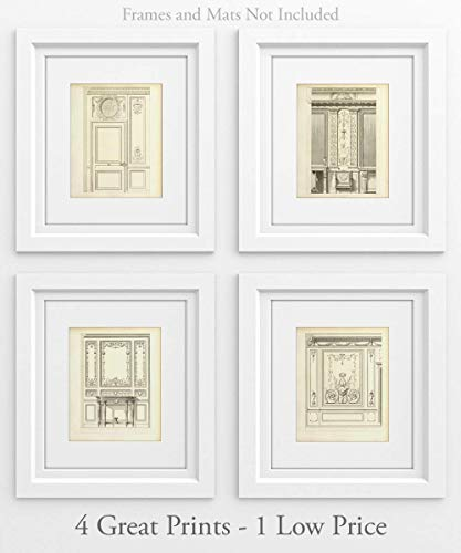 French Doors - Set of 4-11x14 Unframed Art Prints - Makes a Great Architectural Home Decor Under $25 (not Restoration Hardware) ()