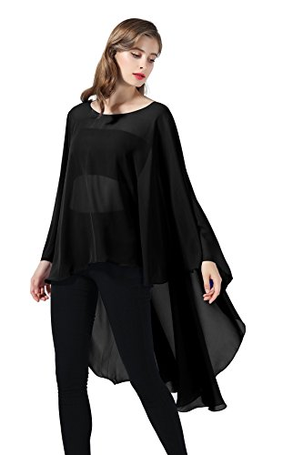 Chiffon Capelet Sheer Bridal Shawl For Women Materbity Cape Plus Size Poncho Wrap Black ()