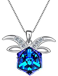 925 Sterling Silver Square Zodiac 12 Constellation Sign Pendant Necklace Blue Made with Swarovski Crystals
