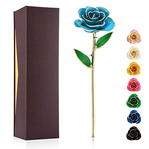 Ejoyous Golden Rose Gift for Wife, Real Rose Dipped in 24K Gold Romantic Proposal Present for Girlfriend on Birthday Valentines Day Anniversary Halloween Thanksgiving Christmas,Light Blue Rose (Best Girlfriend Presents Christmas)
