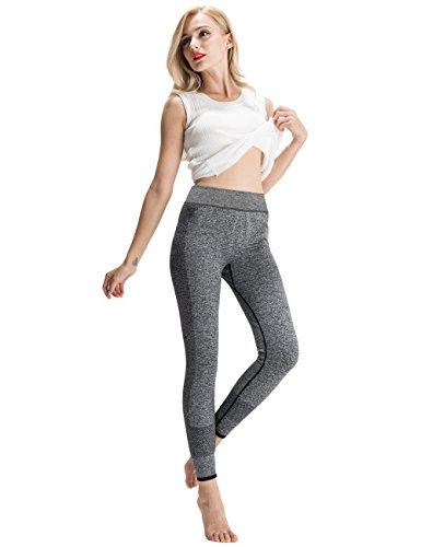 SEKERMAET High Waisted Yoga Pants Workout Leggings Dry-Fit Long Running Tights For Women Black Grey (Colorful Tights Running)