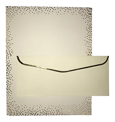 Ivory & Gold Dots Stationery with Matching Ivory #10 Envelopes (Gold Foil-Lined Envelopes) (Gold Envelopes Foil Ivory)