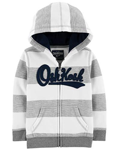 - OshKosh B'Gosh Boys' Kids Full Zip Logo Hoodie, Grey Stripe, 4-5