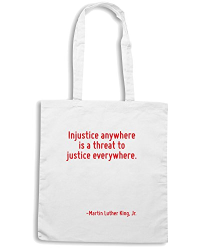 T-Shirtshock - Bolsa para la compra CIT0127 Injustice anywhere is a threat to justice everywhere. Blanco
