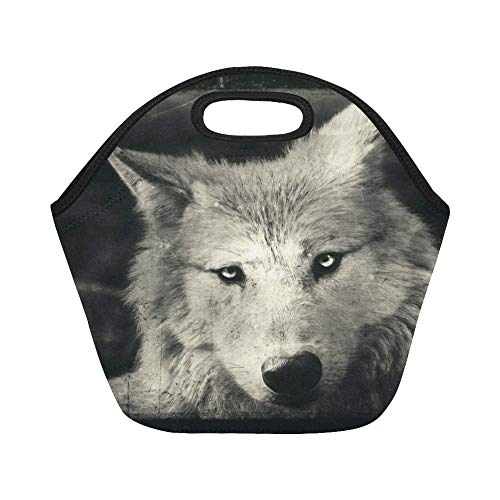 Insulated Neoprene Lunch Bag Awesome Halloween Wallpaper With Mystical Wolf Large Size Reusable Thermal Thick Lunch Tote Bags For Lunch Boxes For Outdoors,work, Office, School for $<!--$21.00-->