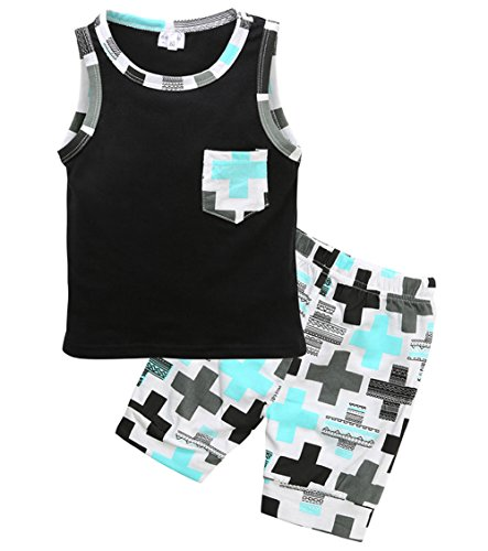 Younger star Cute Baby Boy Toddler Sleeveless Vest Top+Shorts 2pcs Outfits Summer Clothes Set (Black, 12-18 Months)