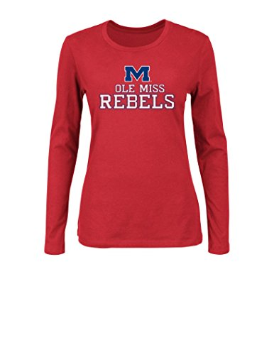 NCAA Mississippi Old Miss Rebels Women's Momentous Long Sleeve Crew Neck T-Shirt with Neck Tape, Medium, (Long Sleeve Tape)