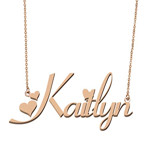 (Aoloshow Customized Custom Name Necklace Personalized - Custom Made Kaitlyn Necklace Initial Monogrammed Gift for Womens)