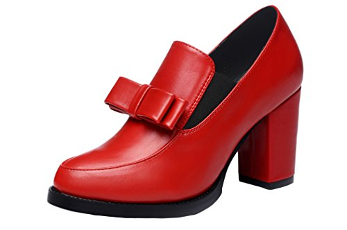 WUXING Sweet Girls Bowknot Heels Spring Round Toe Casual Shoes(5.5 B(M)US, red)