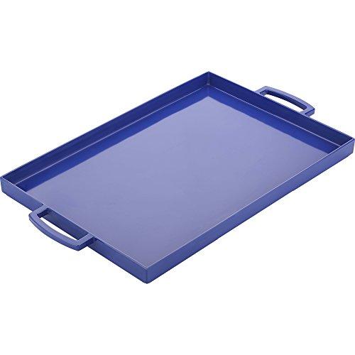Zak Designs 2323-0010-AMZ Perfect Living Room Kitchen Metal Handles Zak Serving Trays, MeeMe Large, Blue (Melamine With Handles Tray)