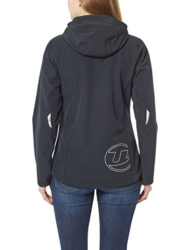 Ultrasport Pinja - Chaqueta deportiva Softshell para mujer, con capucha extraíble Negro / Fucsia