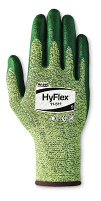Ansell Edmont 11-511-7 HyFlex Intercept Technology Yarn Coated Work Glove with Green Foam Nitrile Coated Palm, Enhanced Cuff and Overedging Cuff, Size 7, Yellow