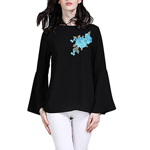 Reasoncool Women Tops, Islamic Muslim Embroidery Flower Horn Sleeve Pure Color Plus Size T Shirt Blouse by Reasoncool