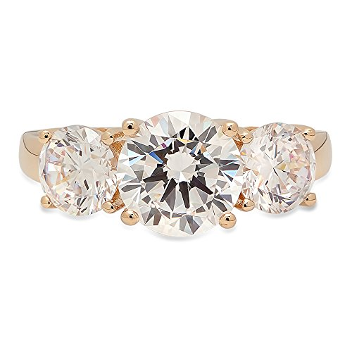 3 Stone Designer Ring - Clara Pucci 3.35 CT Brilliant Round Cut CZ Designer Solitaire 3-Stone Band Ring Solid 14K Yellow Gold