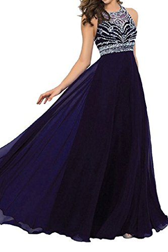 Unbranded* Stunning A-Line Scoop Long Chiffon Prom Dress Evening Gown With Beading by Unbranded*