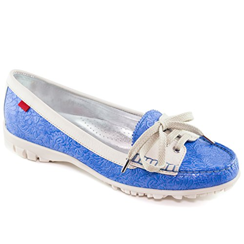 Marc Joseph New York Women's Fashion Shoes Liberty Golf Floral Celeste with Lace Moccassin Size 9.5
