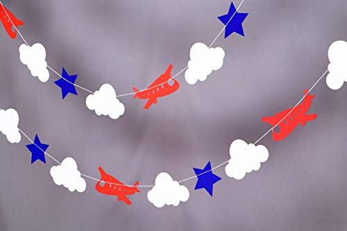 Airplane 10ft Party Paper Garland, Birthday Party Decor, Wedding Shower Decor, Nursery Décor
