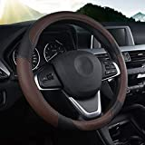 Leather Steering Wheel Cover Breathable and Comfortable Wear-Resistant is Four Seasons Eco-Friendly Universal Size 38-50cm /15-19.7inch
