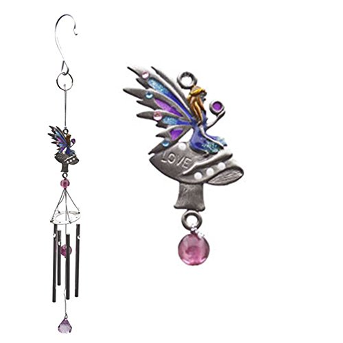Fairy Wind Chime Metal, Glass and Resin Small Garden Ornament - Love, Hope Moon and Flower (Love - B) (Resin Moon compare prices)