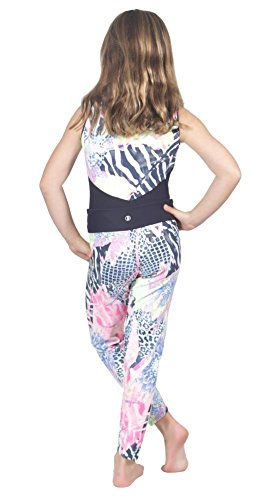 High End Boutique Quality Kids Gymnastics Yoga Fitness Stretch Pants Leggings for Girls M (6-7 yrs) Navy Blue/Pink (Tween Leggings)
