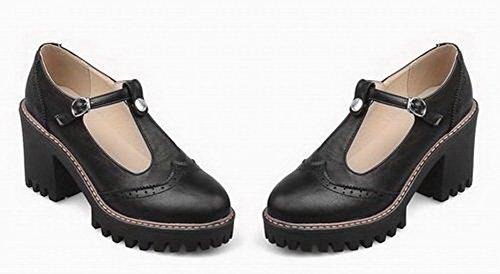 Sandales PU AalarDom à TSFLH006543 Noir Boucle Femme Talon Unie Cuir Couleur Haut z6q6BEwrax
