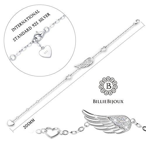 Billie Bijoux 925 Sterling Silver Women Angel Wing Adjustable Chain Bracelet Diamond White Gold Plated Bracelet for Women, Girls, Mom