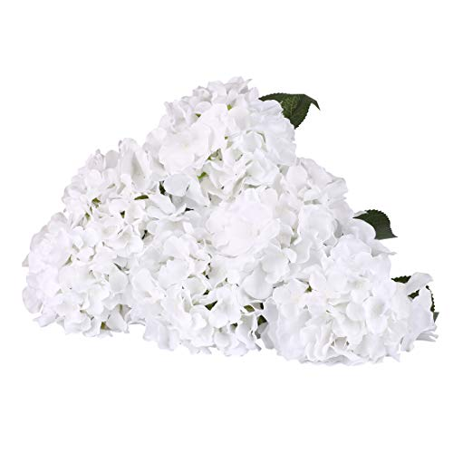 LuLuHouse Silk Hydrangea Head with Stems,Bulk Artificial Hydrangea Flower Heads Decorative Swags for Wedding Home Decor (Pure White, 10Pcs)