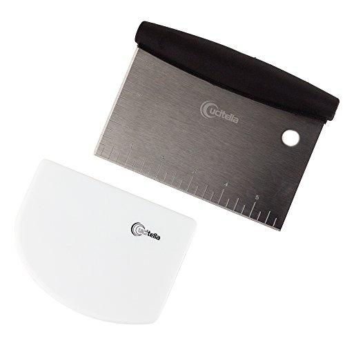 Cucitella Dough & Bowl Scraper Bundle, Stainless Steel Pastry Cutter & Flexible Plastic Bowl Scraper, Nontoxic, Dishwasher Safe (Kneading Breads Dough)