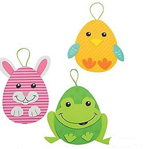 Fun Express Foam Easter Egg Character Ornament Craft Kit - Makes 12