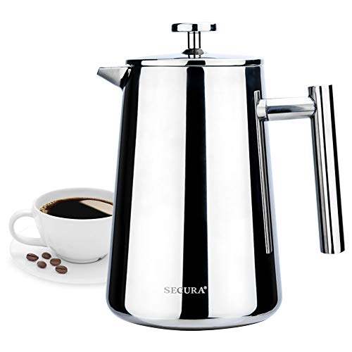 - Secura SFP-34DST Stainless Steel French Press Coffee Maker 18/10 Bonus Stainless Steel Screen -34 fl. oz (1 Liter), Silver