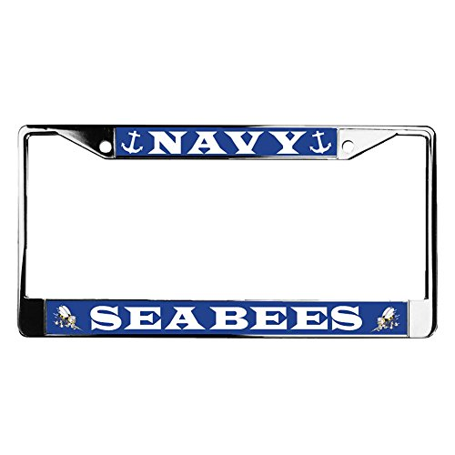 U.S MILITARY U.S NAVY SEABEES CAN DO METAL LICENSE PLATE FRAME NEW SEALED