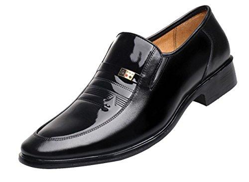 WZG Erste Schicht aus Leder Herren-Schuhe, Herren-Lederschuhe Geschäftskleid Freizeitschuhe England atmungsaktive Leder Männer Schuhe , black , 43