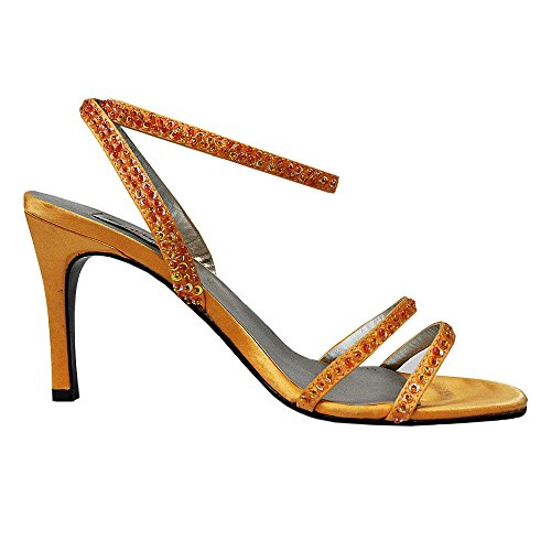 FARFALLA Satin Beaded Anklestrap Sandals Color-Orange Size-UK 7/40 YNJOXBW