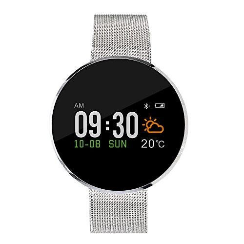 (Choosebuy Bluetooth Smart Watch, Touch Screen Sports Smart Wristwatch IP67 Waterproof Sleep Monitoring/Anti-lost/Heart Rate Pedometer Smart Bracelet for Android IOS for Women Men Elderly (Silver))