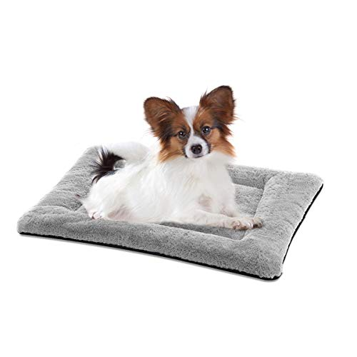 (SIWA MARY Dog Bed Mat Soft Crate Pad Washable Anti-Slip Mattress for Large Medium Small Dogs and Cats Kennel Pad (24inch,Grey))