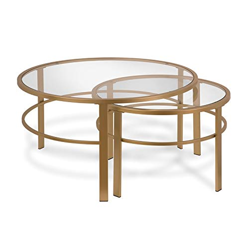 Henn&Hart Coffee Table, One Size, Gold (Table Nesting Round Coffee)