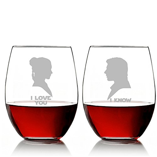 I Love You and I Know Silhouette Star Wars Stemless 15 oz Wine Glass Set
