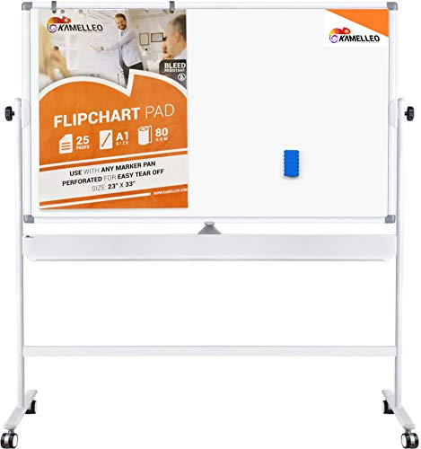 Double Sided Mobile Whiteboard - 70 x 36 Inches Magnetic Dry Erase Board on Wheels - Large Rolling Stand Portable White Board for Home, Office, School Set with Flip Chart Holders, Paper Pad and Eraser ()