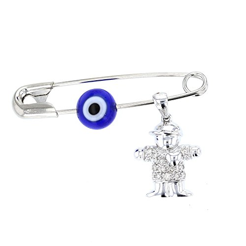 Baby Pins, 14 KT Gold & Diamond Charm with Evil Eye Charm on Safety Pin (WHITE BOY CHARM)