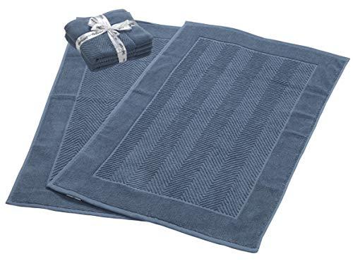 900 GSM Machine Washable Jacquard Chevron 100% Cotton Bath Mats – 21×34 Inches 2-Pack – Hotel-Spa Tub-Shower Bath Mat Floor Towels -Soft & Absorbent Cotton Bath Mats- Blue Bath mat set for Bathroom