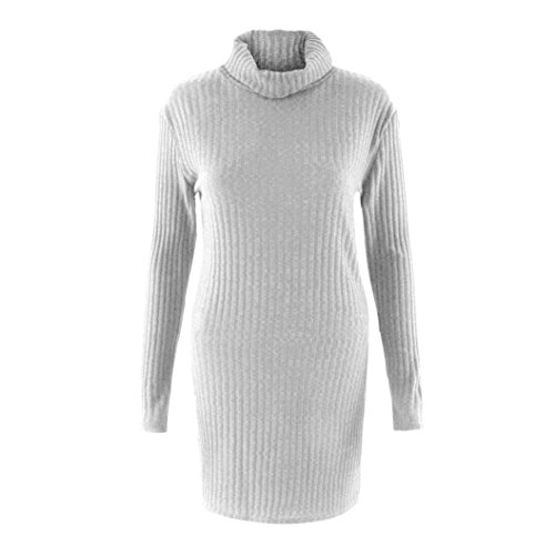 Coversolate Womens Casual Long Sleeve Jumper Turtleneck Suéteres Vestido Gris