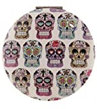 1pce Candy Skull Compact Mirror for Purse, Bag, Fold Up, Day of the Dead - Round White