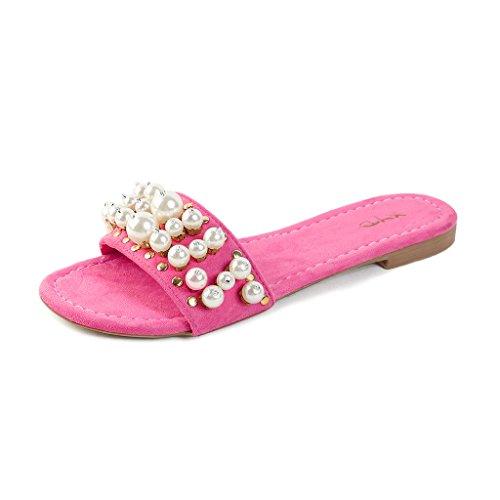 Sandali Con Scollo A V Slip Per Slittamento Estivo In Jersey Donna Pantofole Morbide Scarpe Scamosciate Con Suole Fucsia