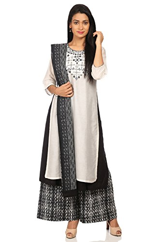 - BIBA Women's White Cotton Salwar Kameez Dupatta Size 32