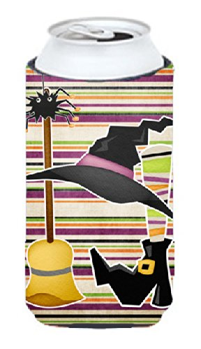 [Witch Costume and Broom on Stripes Halloween  Tall Boy Beverage Insulator Beverage Insulator Hugger] (Tall Drink Of Water Halloween Costume)