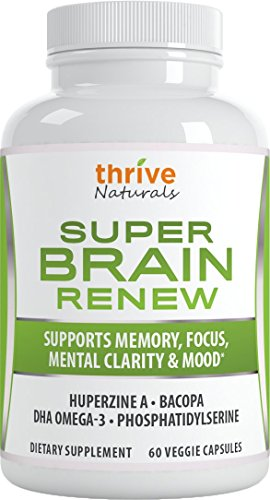 Thrive Naturals Super Brain Renew - Maximum Strength for Improved Cognitive Function, Memory, Focus and Mental Clarity - 60 Vegetarian Capsules - 1 Month Supply